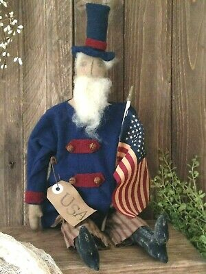 NEW!! Beautiful Primitive Handmade 4th Of July Americana Folk Art UNCLE SAM Doll