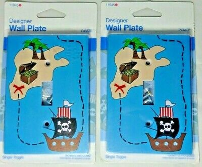 Lot of 2 New Pirate Ship Treasure Map Light Switch Designer Face Wall Plate