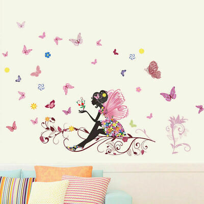 Removable Flower Fairy Butterfly Girl Wall Sticker Art Decal Home Kid Room Q7J8