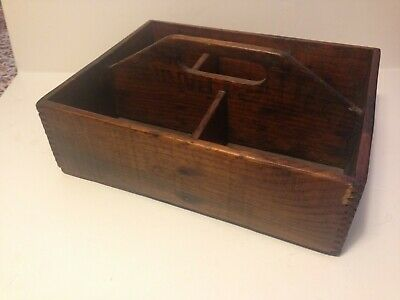 Vintage  Antique Primitive Wood Tray With Handle Box Tote Divided Carrier