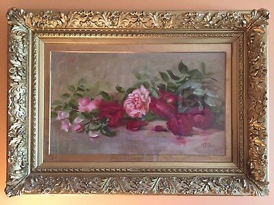 Beautiful Atnique Oil Painting Roses Floral by M.B. Peck England Gold Gilt Frame