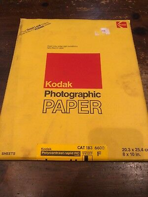 Kodak Vintage Photographic Paper Polycontrast Rapid RC 8x10 25 Sheets- Sealed!