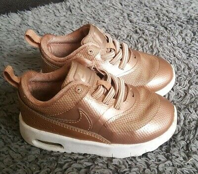 TODDLER GIRLS NIKE Air Max Thea Rose Gold Trainers Uk Size