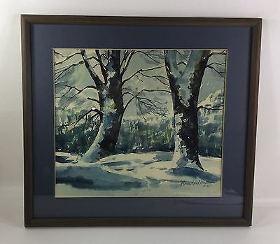 Hans Axel Walleen Original Watercolor Painting - Winter Landscape Listed Artist