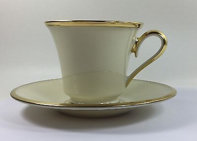 "Lenox China ""Eternal"" Tea Coffee Cup and Saucer Ivory Gold Trim"