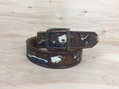 Brazos Joe Vintage Leather Belt, Hand Painted, Hand Tooled Eagle Sunset Scenery