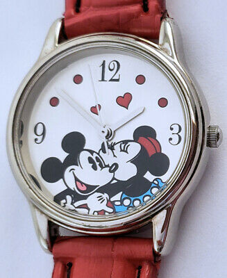 "Women's Mickey Minnie Mouse Hearts Quartz Watch 26mm Silver Case 8"" Red B Disney"