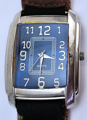 "Men's Rectangular Silver Blue Quartz Watch 33mm By 39mm On 8½"" Timex Hook Loop B"