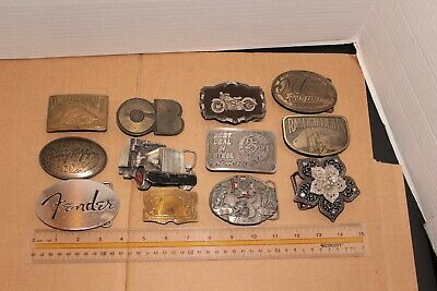 Lot of 12 Vintage Belt Buckles Collectible Semi, CB, Motorcycle, Fender