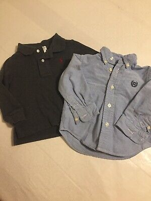 Boys 12 Month Lot Of 2 Shirts Long Sleeve Ralph Lauren And Chaps