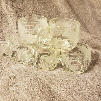 Old Vintage NESTLE NESCAFE Etched Clear Glass World Globe Map Mugs Cups Set of 5