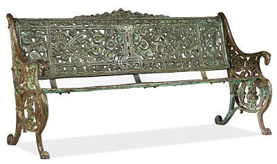 Vintage Antique Aqua Cast Iron Victorian Style Garden Bench Loveseat 66'' x 34''