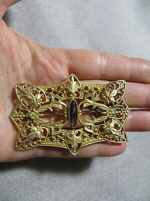 Antique Victorian Brass Metal Amethyst Stone Open Cut Floral Ornate Pin Brooch