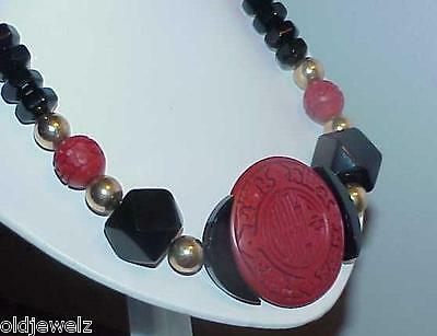 Antique Cinnabar Onyx Cube Necklace Art Deco Chunky Vintage Huge Disc Oriental
