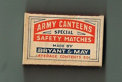 """1940'S  Complete Match Box- """"Army Canteens""""-  Bryant & May-No Matches"""