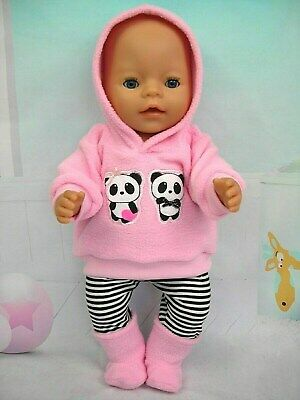"""Dolls clothes for 17"""" Baby Born doll~PINK PANDA BEARS HOODIE/LEGGINGS/BOOTS"""