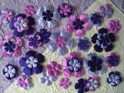60 fabric FLOWERS Mixed sizes FFE9PLM Purple Lilac Card Scrapbook Embellishments