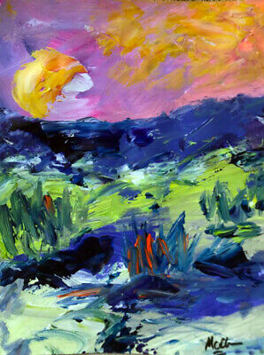 Claire McElveen Western Abstract Landscape Original Painting Signed Art Moon