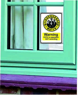 Neighbourhood Watch with CCTV - Stickers  CCTV SIGN PACK OF TWO WINDOW STICKERS