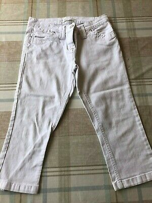 Next white denim cropped trousers capri jeans size 8