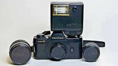 Pentax Auto 110 camera with 18mm, 24mm and 50mm lenses and flash