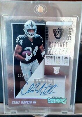 2018-19 Contenders Chris Warren III Rc Playoff Ticket Auto Card 33/49 Raiders