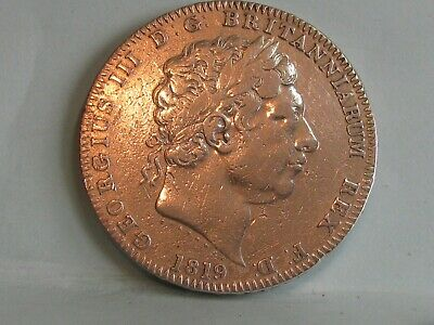 George Iii Silver Crown Coin Dated 1819 Lix