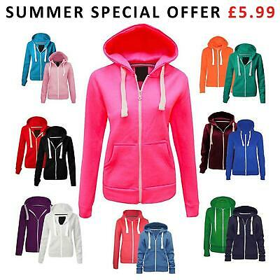 CLEARANCE Ladies Womens Plain Coloured Hoodie Zip Fleece Sweatshirt Jacket Tops
