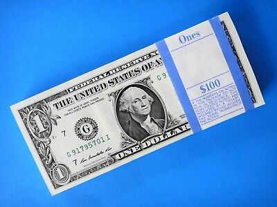 BULK 100 x USA $1 One Dollar Consecutive Serial Numbers UNC 2009 Banknotes G-CHI