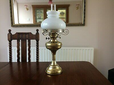 Large Brass Two Burner Oil Lamp With White Shade
