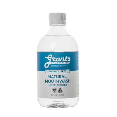 Grants Natural Mouthwash (Alcohol Free) Mint Flavoured 500mL Freshen Breath