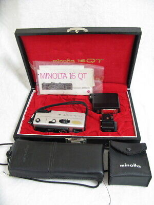 Vintage Minolta 16QT Subminiature Camera in Case Plus Minolta Autopak 460T