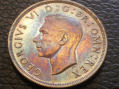 A3..1937 george vi silver crown my grade almost unc .a stunning rainbow colour