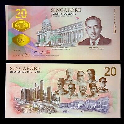 2019 Singapore 20 Dollars Polymer P-New Unc > > > Bicentennial Comm No Folder Nr