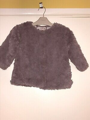 Next Girls Artificial Fur Fluffy Coat Age 12-18 Months Grey Beautiful Lining