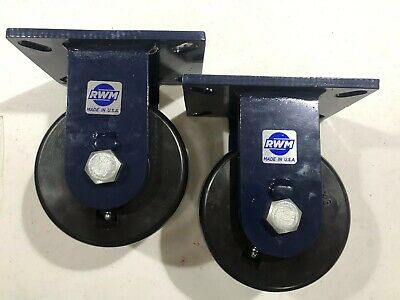 "Pair Of RWM Casters Heavy Duty 6"" X 3"" Rigid Laguna Blue"
