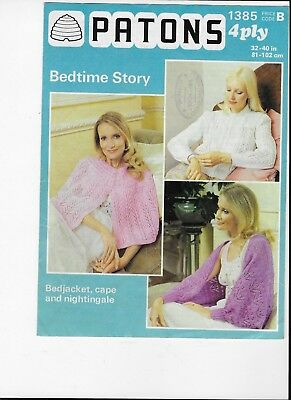 """PATONS VINTAGE 60s KNITTING PATTERN BED JACKET CAPE & NIGHTINGALE 4 PLY 32 - 40"""""""