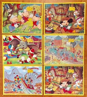 50740f1b0393 Lot Of 6 Collectible Walt Disney Character Vintage Jaymar Tray Puzzle Mickey
