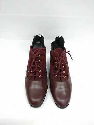 Size 41 Vintage ladies RED as NEW Grunge Rock lace up leather ankle boots