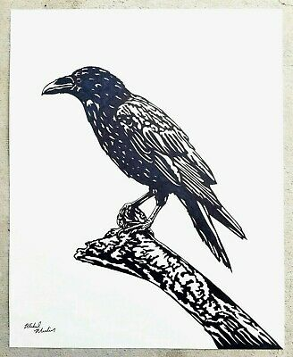 """""""THE RAVEN : BIRD"""" ORIGINAL DRAWING Large 16x20 Artist Signed by MIKOL MERLIN"""