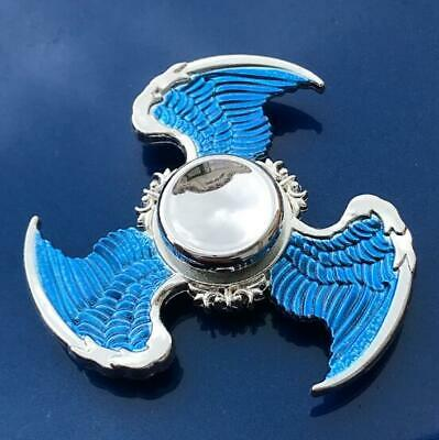 New Sky blue Angel's Wings Fidget Finger hand Spinner EDC Game Metal Gyro Toy