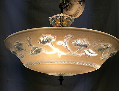 "Vintage Ceiling Light Fixture Ornate Glass 16"" diameter rewired"