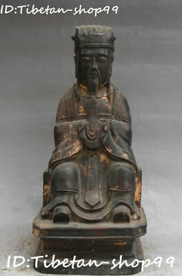 Old Chinese Ancient Bronze Civil Official Civilian Hold Scepter Shaku Sdi Statue