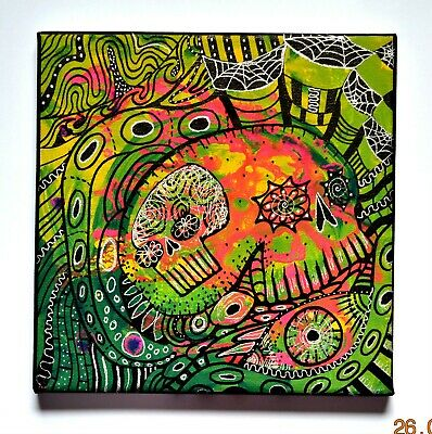 Original Gothic Psychedelic Oil Painting Wall Art,Detailed Artwork,Skull Decor