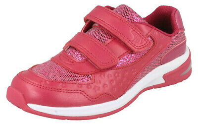 BNIB Clarks Girls Brite Play Pink Leather Lights First Trainers E//F//G//H Fitting