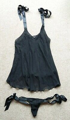 Victoria's Secret matching black camisole and thong with ribbon ties size M