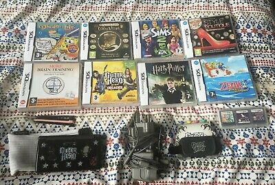 NINTENDO DS Lite Black Handheld Video Games Console Bundle + 12 Games