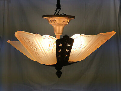 Art Deco Slip Shade Chandelier 5 Light Ceiling Fixture