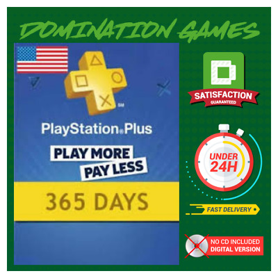 Playstation Plus 365 Days Card - PSN 365 Days Code PS US Store - SONY1 Year Key