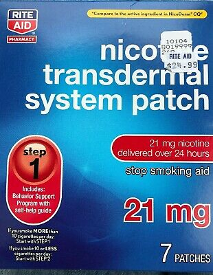 Nicotine Step 1 Transdermal Smoking Patches 21 mg 7 Patches RITE AID EXP 11/19